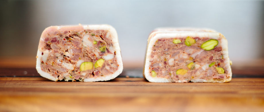 Pâté de Campagne; a comparison of bain-marie (left) and sous vide (right) methods