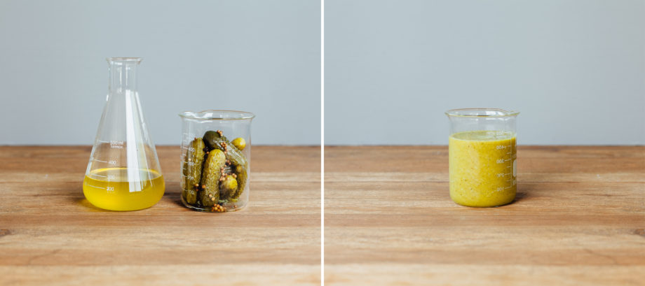 (1) Solids (pickles and spices) and liquid (brine) separated and weighed; (2) Purée of solid and liquids to a uniform consistency